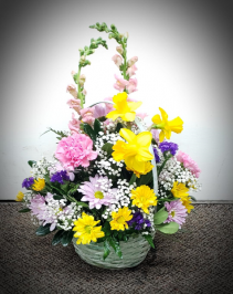 Fantabulous Spring Bouquet Fresh Basket Arrangement