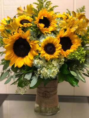 Fantastic Suns Gathering Vase in Fairfield, CT | Blossoms at Dailey's Flower Shop