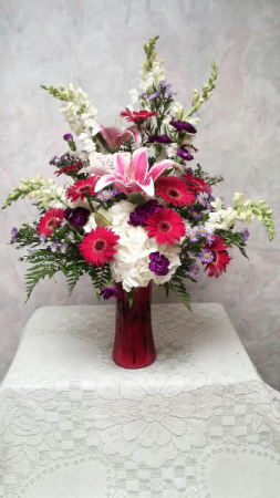 Fantasy Pinks Mixed flowers funeral vase