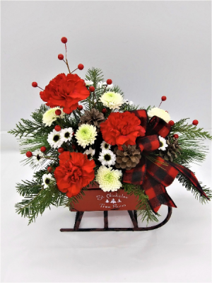 Farm Sleigh Floral Arrangement in Presque Isle, ME | COOK FLORIST, INC.