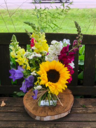 Farmers Bunch  In Clear glass vase