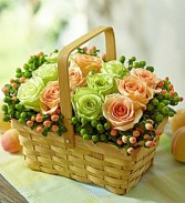 Farmer's Market Basket  of  Roses and Berries In Split Wood Handled Basket