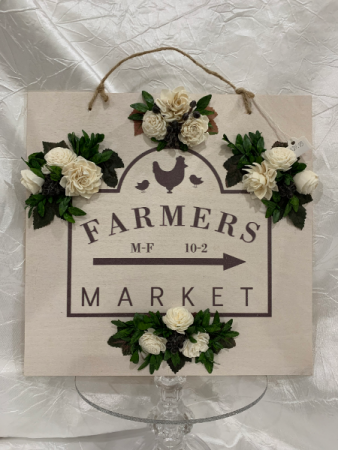 Farmers Market with Wood Flowers