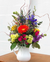 Farmhouse Fresh Pitcher Arrangement