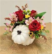 Farmhouse Pumpkin Fall Arrangement