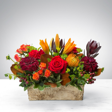 fashionable fall container arrangement