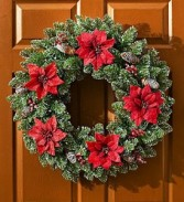 Faux Holiday Poinsettia Wreath-24