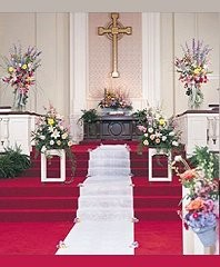 Altar/Podium/Pews/Aisle Wedding Ceremony Flowers