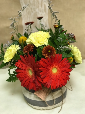 FC006 Ready for delivery Gerberas and carnations in short vase