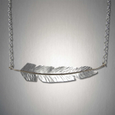 Feather Necklace  Sterling Silver and 14kt Gold
