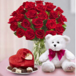 "''FEATURED VALENTINE'S SPECIAL"" 1 Dozen long stem red roses in a vase with a teddy bear and box of chocolates   **OFFER IS FOR 1 DOZEN ROSES @$125 ***  PHOTO SHOW WITH 2 DOZEN ROSES *** in Philadelphia, PA 