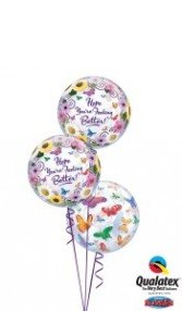 Feel better butterflies balloons