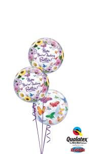 Feel better butterflies balloons