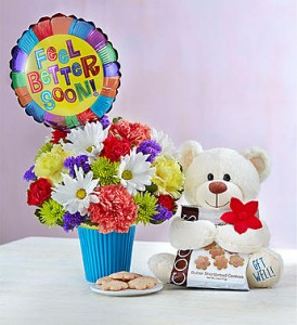 Feel Better Soon, Love You MUCH! Flowers, bear, cookies, balloon + your love! in Gainesville, FL | PRANGE'S FLORIST