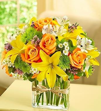 Midwestern Garden  Bright Colored Blooms in Modern Rectangular Vase