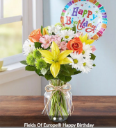 Feilds of Europe  birthday Mixed colorful flowers with birthday balloon