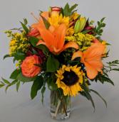 Feisty in Fall Fresh Vase Arrangement