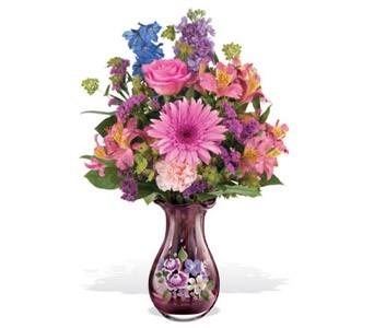 Fenton Painted Vase florial arrangement