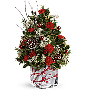 Festive Berries and Holly Tree Arrangement in Tyngsboro, MA | BLOSSOMS