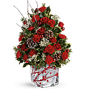 Festive Berries and Holly Tree Winter arrangement