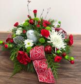 Country Christmas Centerpiece with ceramic  bird Fresh Christmas Centerpiece