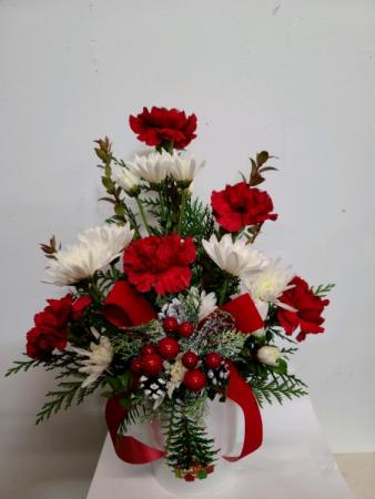 Festive Christmas Tree Tin Fresh Flower Arrangement In Elko Nv Leeanne S Floral Designs