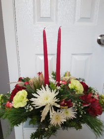 Festive Cranberry Double Candle Centerpiece