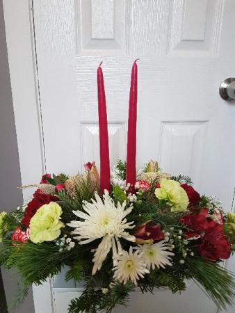 Festive Cranberry Double Candle Centerpiece