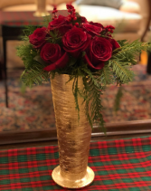FESTIVE EVERGREEN FLOWER BOUQUET ELEGANT AND MIXTURE FLOWERS