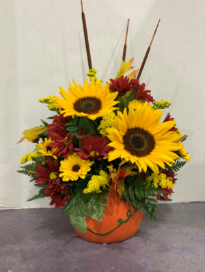 Festive Fall Ceramic Arrangement  in Attica, NY   Bloomz Florist
