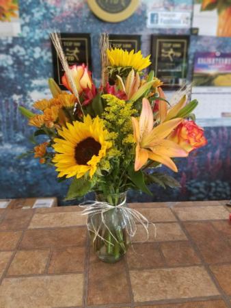 Festive Fall Flowers Vase Arrangement
