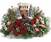 Festive Fire Station by Thomas Kinkade centerpiece in Claremont, NH | FLORAL DESIGNS BY LINDA PERRON