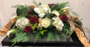 Festive Holiday Centerpiece Centerpiece in Fairfield, CT   Blossoms at Dailey's Flower Shop