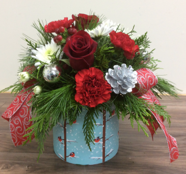 Festive Merry Christmas  Fresh flower arrangement with bulbs