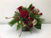 A Red and Gold Holiday Vase Arrangement