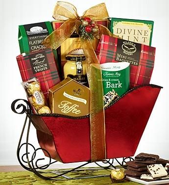Festive Red Sleigh Gift Basket Gourmet Gift Basket