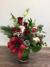 Festive roses Christmas arrangement