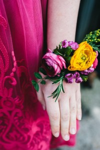Festive Wrist Corsage with bright colored flowers