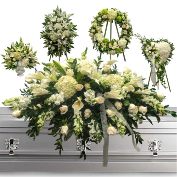 FFFL-WHITE CUSTOM 5 PC PACKAGE PEDESTAL, STANDING SPRAY, WREATH, SOLID HEART AND CASKET$800 CASH IN STORE PURCHASE