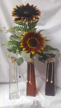 2 LARGE SUNFLOWERS ARRANGED IN TALL VASE!