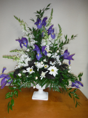 FG Blue and White Urn Sympathy arrangement in Barnesville, OH | THE FLOWER GARDENS