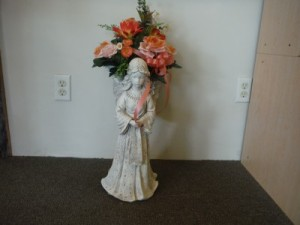 FG concrete angel with basket Decorated statue in Barnesville, OH | THE FLOWER GARDENS