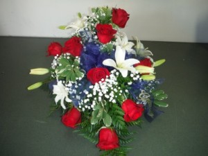FG Patriot Foot spray Casket Spray in Barnesville, OH | THE FLOWER GARDENS