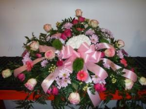 FG Pretty in Pinks Casket Spray in Barnesville, OH | THE FLOWER GARDENS