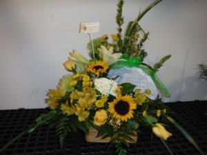 FG Sunshine basket with stone Sympathy arrangement in Barnesville, OH | THE FLOWER GARDENS