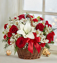 Fields of Europe for Christmas in a Basket  Mixed Flowers Holiday Colors