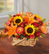fields of europe for fall basket floral arrangement