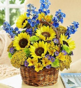 California Valleys Basket  Beautiful Sunflowers, Delphinium and More !
