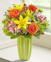 Fields of Europe™ in a Green Vase Arrangement