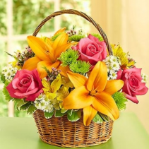 Fields of Europe™ in Willow Basket Arrangement